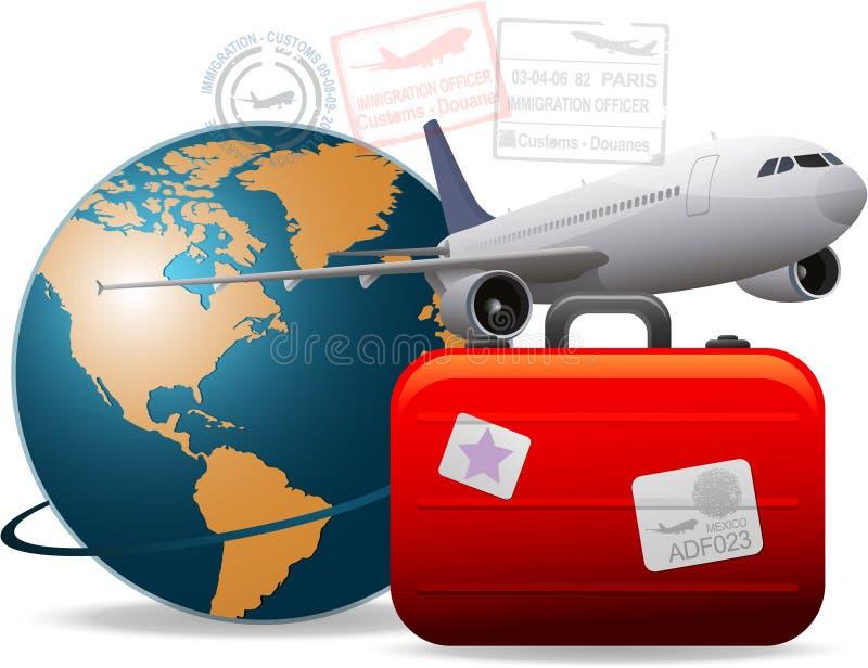 全世界飞机的旅行 向量例证