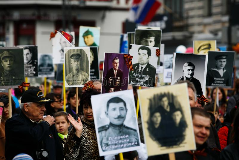 全俄国行动'不朽的军团'5月9日被计时对胜利天在符拉迪沃斯托克 库存照片