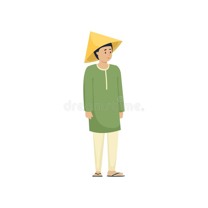 全国亚洲衣裳的逗人喜爱的人有绿色衬衣的 库存例证