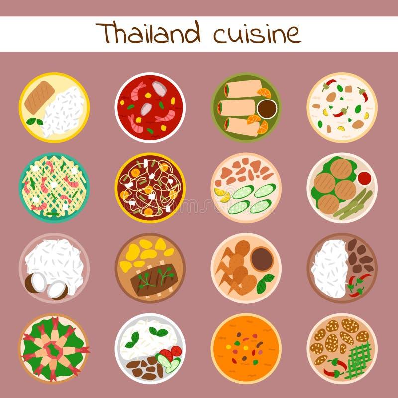 全国传统泰国烹调可口和热的成份晚餐的食物泰国亚洲板材烹调海鲜大虾 库存例证