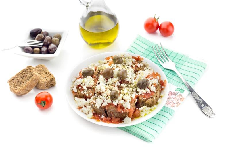 全国克里特岛人,希腊快餐dakos 免版税库存图片