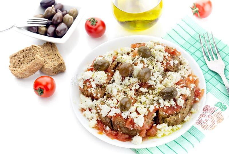 全国克里特岛人,希腊快餐dakos 库存照片