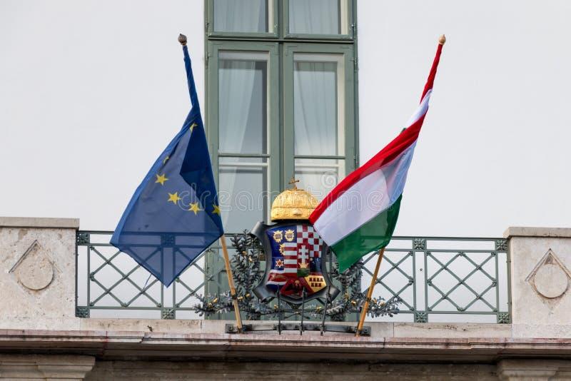 全国匈牙利人和欧洲联盟标志 免版税库存图片