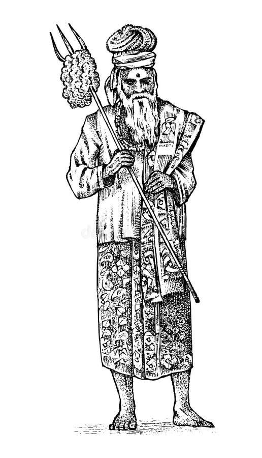 全国印度圣人在浴巾思考 宗教礼服或成套装备 瑜伽老师和禅宗 被刻记的手拉 向量例证