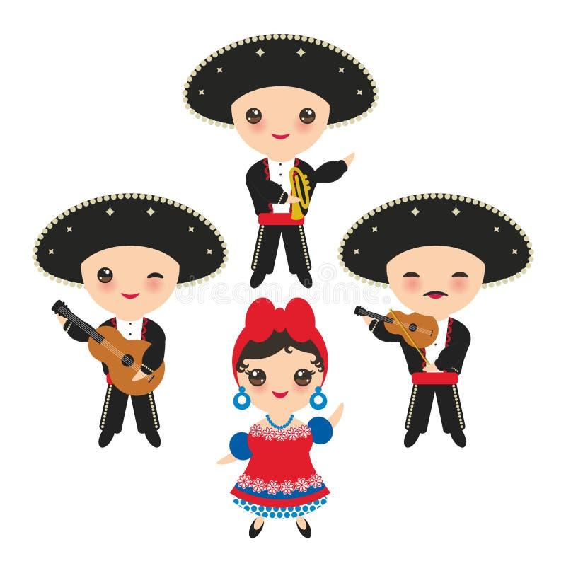 全国服装和帽子的古巴人男孩和女孩 动画片孩子在传统古巴穿戴,墨西哥流浪乐队编组乐器顾 向量例证