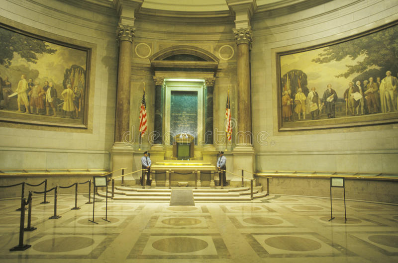 全国档案的内部,华盛顿, D C 免版税库存照片