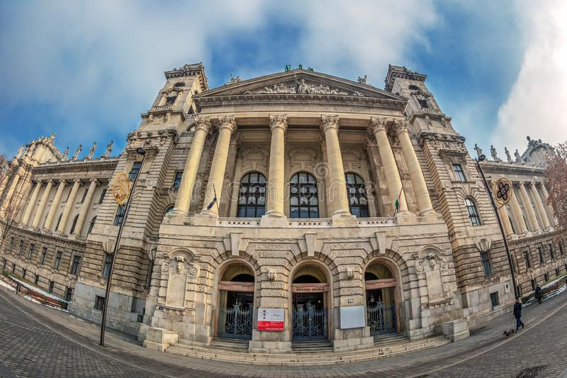 全国民族志学博物馆的正面图,布达佩斯,匈牙利 库存照片