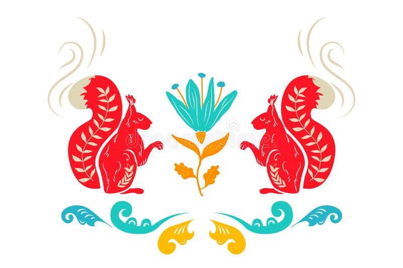 全国民间装饰品 俄国人Boretskaya绘画 装饰元素灰鼠、植物和花装饰背景 Backgrou 向量例证