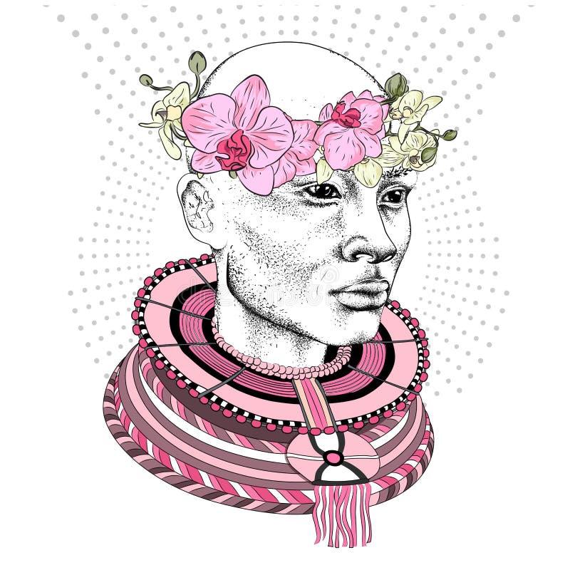 全国礼服和花花圈的美丽的非洲妇女 Arikansky全国种族装饰品 也corel凹道例证向量 向量例证