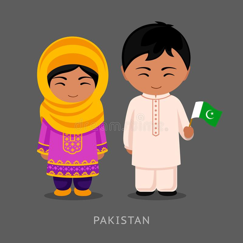 全国礼服的巴基斯坦人有旗子的 皇族释放例证