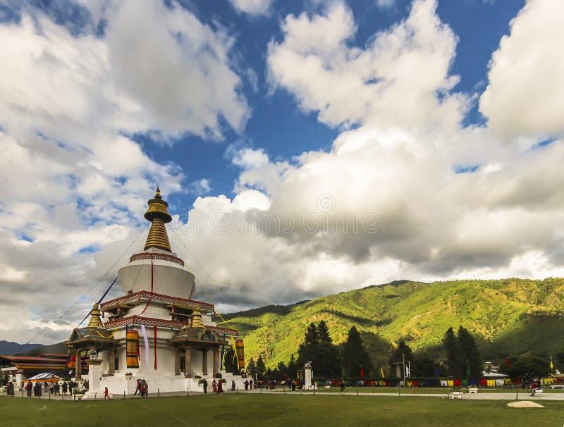 全国纪念Chorten是stupa在1974年修造的尊敬第三Druk Gyalpo,吉格梅・多吉・旺楚克 库存照片