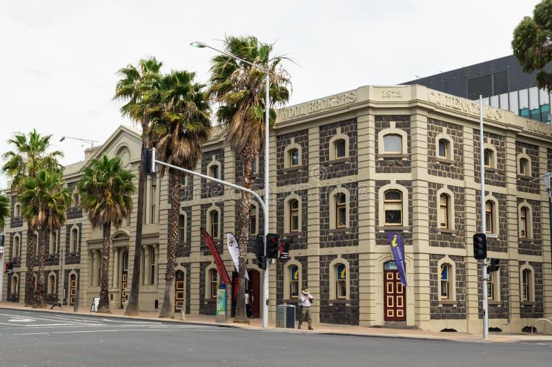 全国羊毛博物馆大厦在吉朗,在澳大利亚 免版税库存图片
