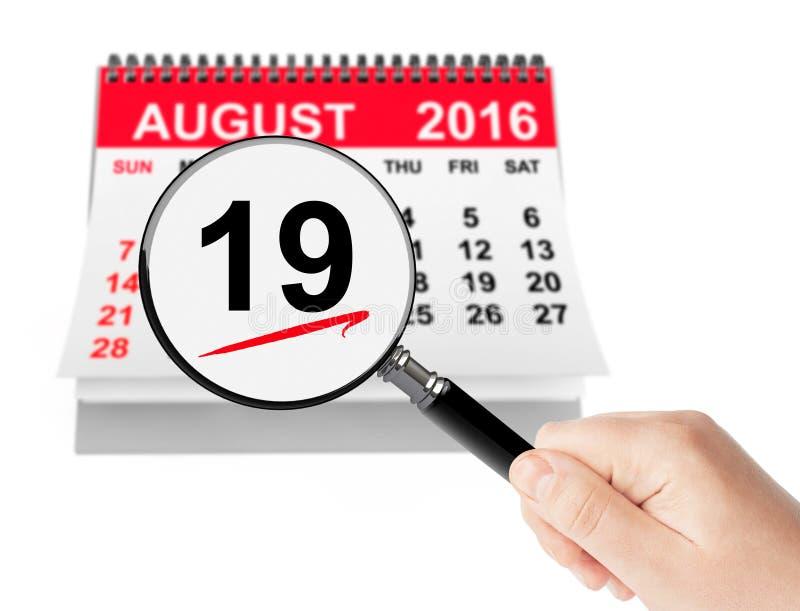 全国航空天概念 8月19日与magn的2016日历 免版税库存照片