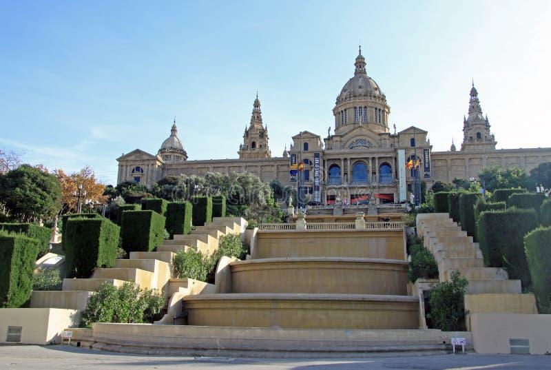 全国艺术馆(MNAC)在巴塞罗那,卡塔龙尼亚,西班牙 免版税库存图片