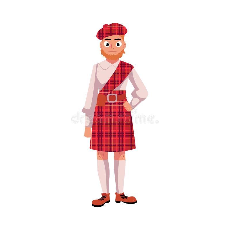 全国衣裳、红色格子呢贝雷帽和苏格兰男用短裙的苏格兰人 向量例证