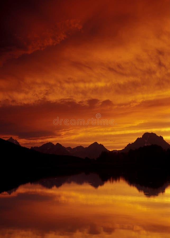 全国越野障碍赛马oxbow公园日落teton 免版税图库摄影