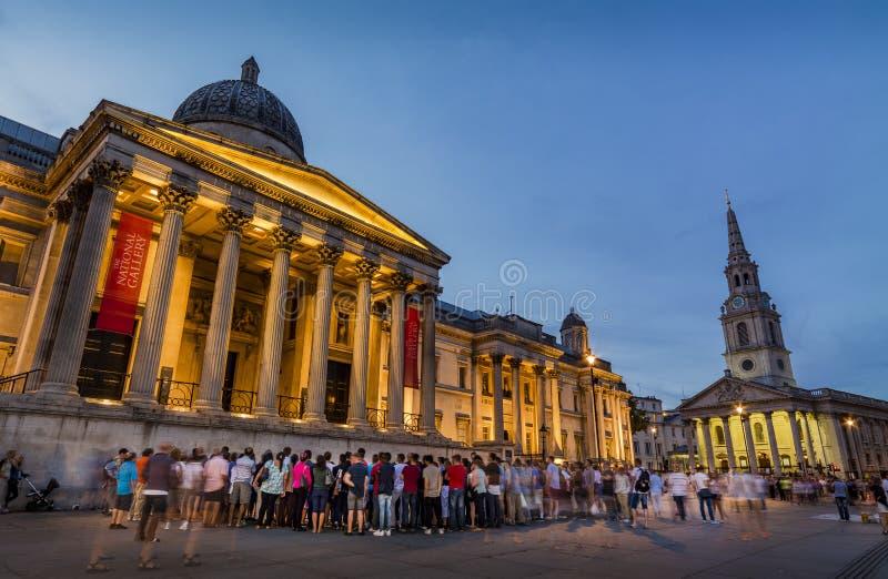 全国画象画廊,特拉法加广场,伦敦 库存图片