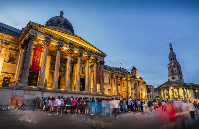 全国画象画廊,特拉法加广场,伦敦 免版税库存图片