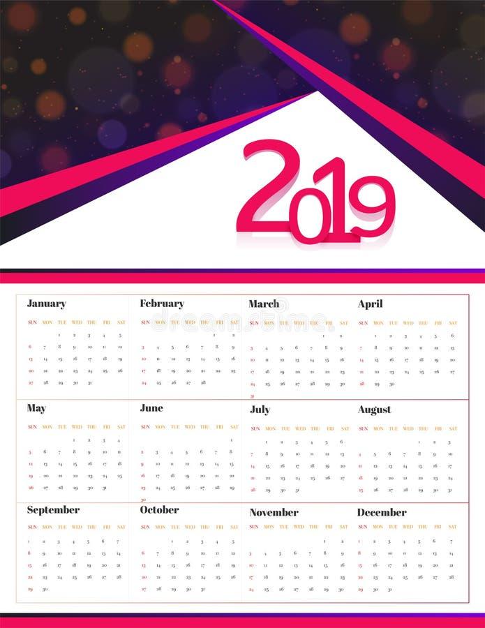 全套12个月每年日历 皇族释放例证