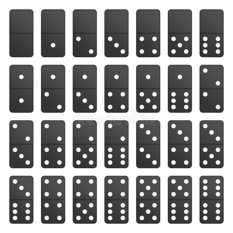 全套黑色多米诺片断 向量例证