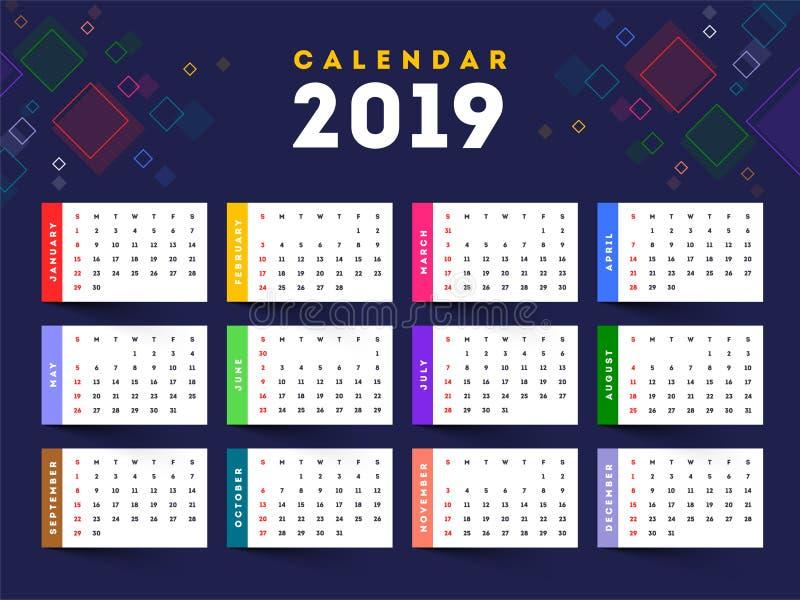 全套2019逐年挂历设计的w 12个月 向量例证