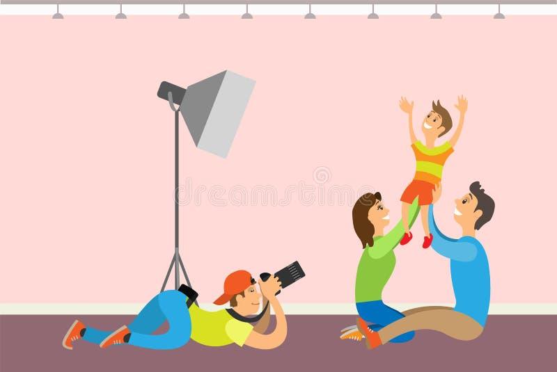 全家福会议、孩子和父母 摄影师 向量例证