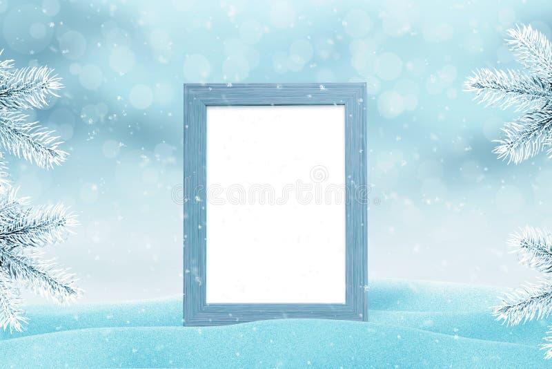 全家福的相框大模型新年和圣诞节的贺卡 免版税库存照片