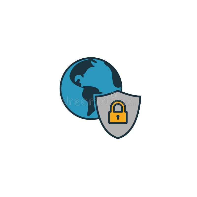 全局安全图标 Simple element from icons collection Creative Global Security icon ui, ux, apps, software and infographics 向量例证