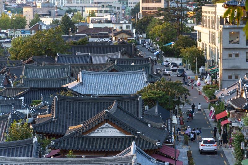 全州Hanok村庄,与韩国传统房子的普遍的旅游景点在韩国 免版税库存照片