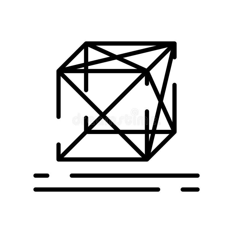 全息图在白色背景、全息图标志、线标志或在概述样式的线性元素设计隔绝的象传染媒介 向量例证