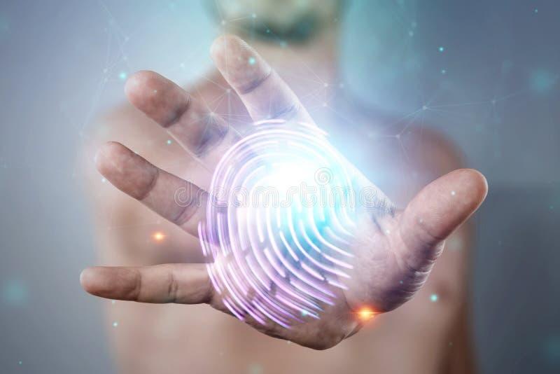 全息图指纹,男性手扫描的指纹 指纹、生物测定学、信息技术和网络的概念 库存照片