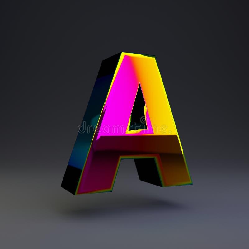 全息照相的3d信件A大写 与多色反射的光滑的在黑背景隔绝的字体和阴影 皇族释放例证