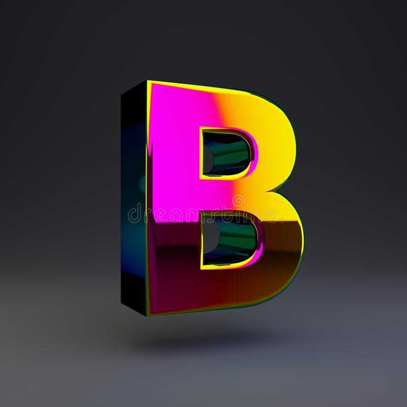 全息照相的3d信件B大写 与多色反射的光滑的在黑背景隔绝的字体和阴影 向量例证
