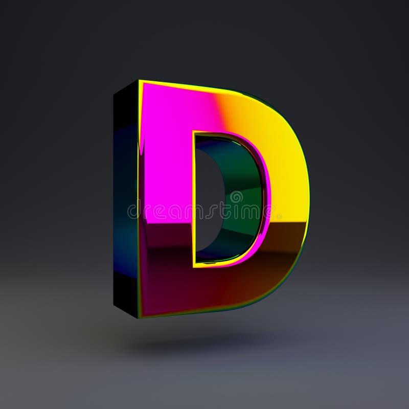 全息照相的3d信件D大写 与多色反射的光滑的在黑背景隔绝的字体和阴影 库存例证