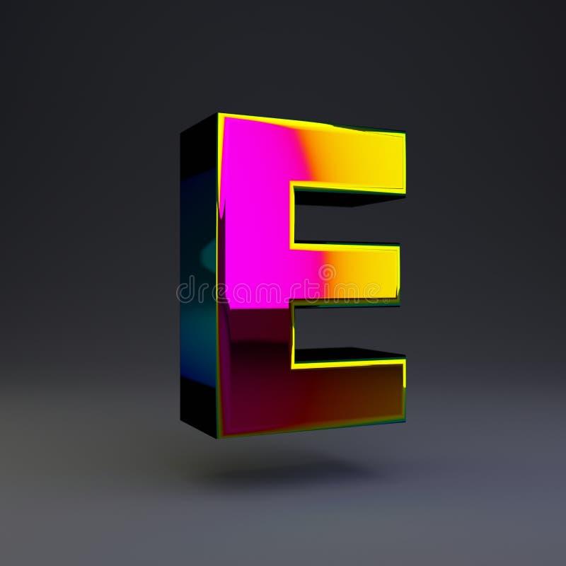 全息照相的3d信件E大写 与多色反射的光滑的在黑背景隔绝的字体和阴影 皇族释放例证