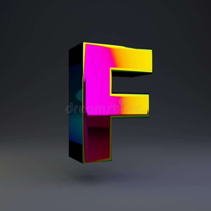 全息照相的3d信件F大写 与多色反射的光滑的在黑背景隔绝的字体和阴影 皇族释放例证