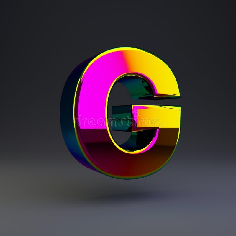 全息照相的3d信件G大写 与多色反射的光滑的在黑背景隔绝的字体和阴影 皇族释放例证