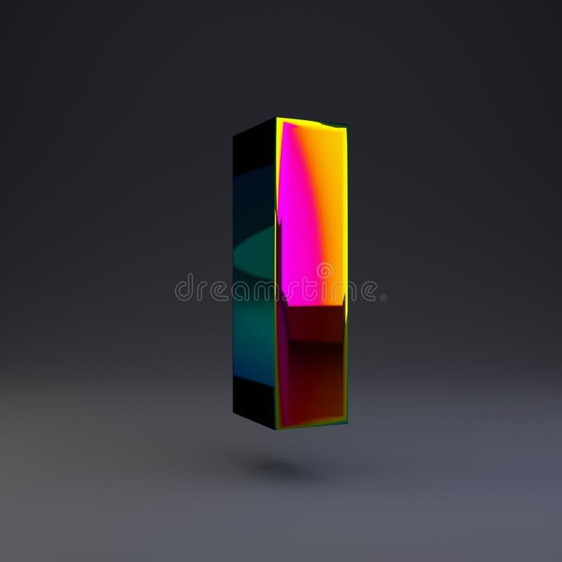 全息照相的3d信件I大写 与多色反射的光滑的在黑背景隔绝的字体和阴影 库存例证