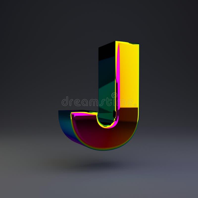 全息照相的3d信件J大写 与多色反射的光滑的在黑背景隔绝的字体和阴影 向量例证