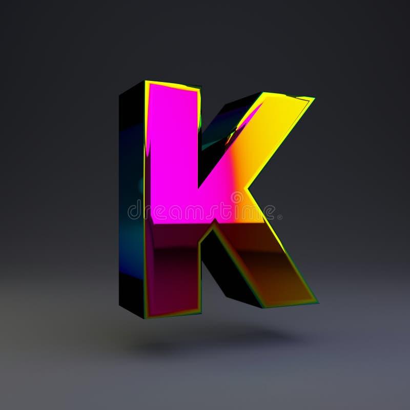 全息照相的3d信件K大写 与多色反射的光滑的在黑背景隔绝的字体和阴影 库存例证