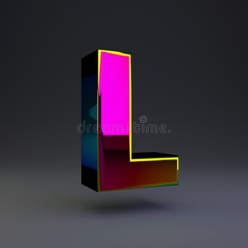 全息照相的3d信件L大写 与多色反射的光滑的在黑背景隔绝的字体和阴影 向量例证