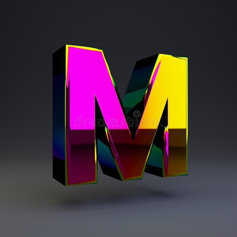 全息照相的3d信件M大写 与多色反射的光滑的在黑背景隔绝的字体和阴影 库存例证