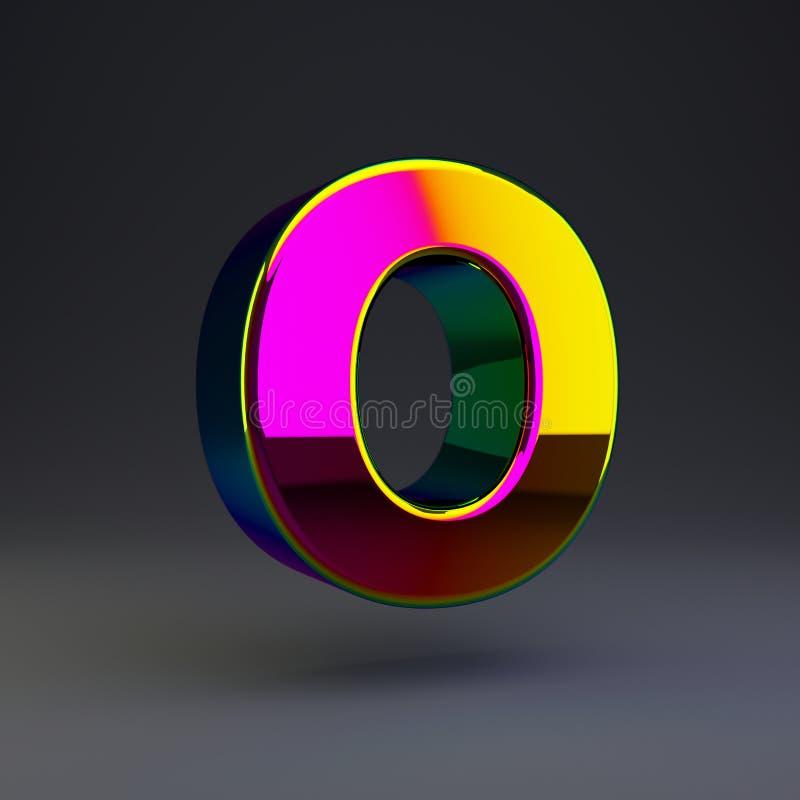 全息照相的3d信件O大写 与多色反射的光滑的在黑背景隔绝的字体和阴影 库存例证