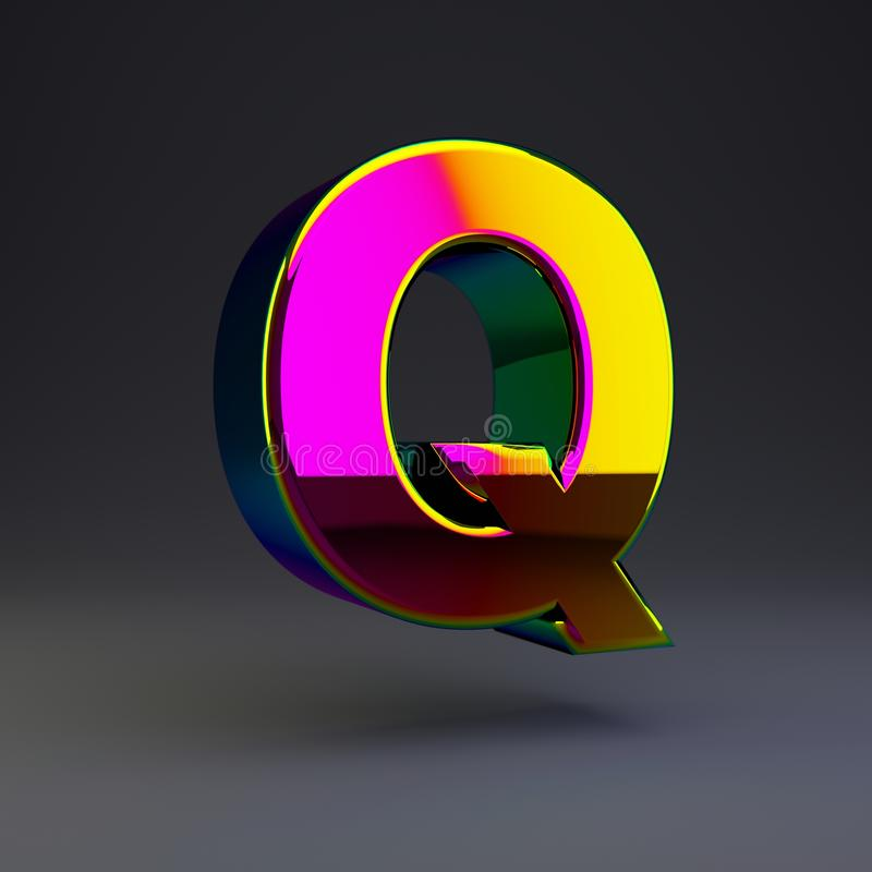 全息照相的3d信件Q大写 与多色反射的光滑的在黑背景隔绝的字体和阴影 库存例证