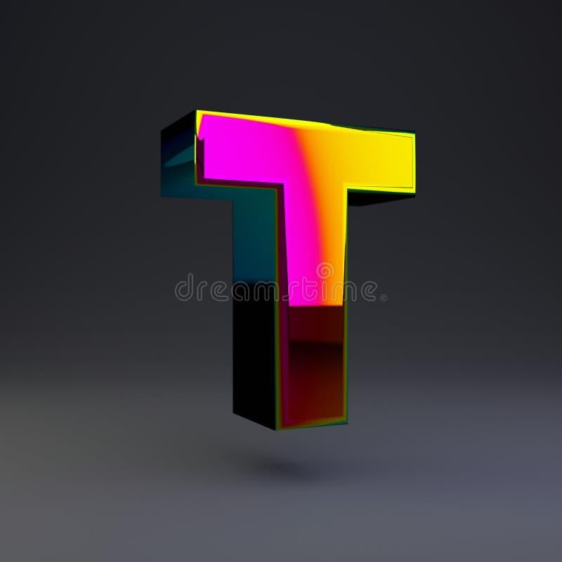 全息照相的3d信件T大写 与多色反射的光滑的在黑背景隔绝的字体和阴影 库存例证