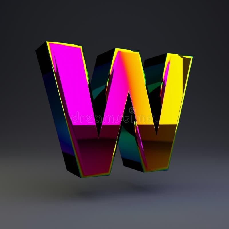 全息照相的3d信件W大写 与多色反射的光滑的在黑背景隔绝的字体和阴影 向量例证
