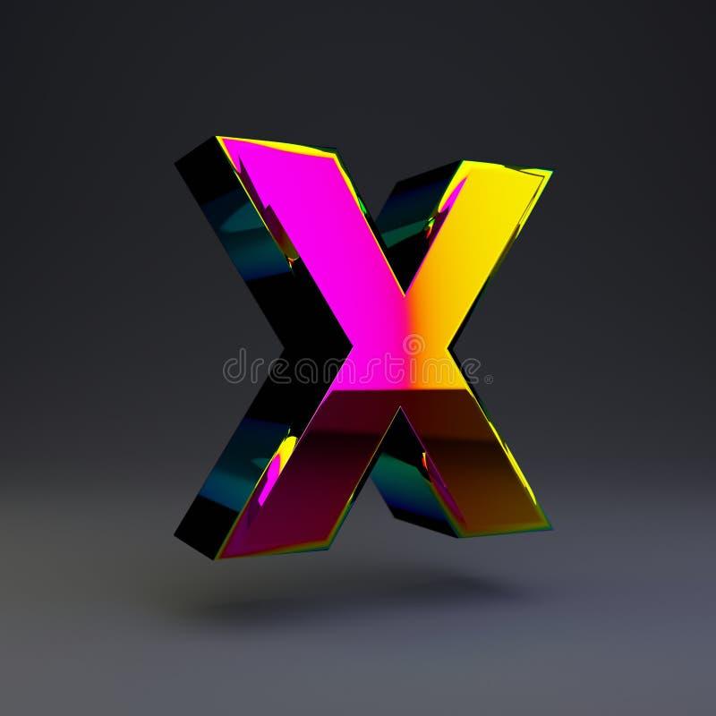 全息照相的3d信件x大写 与多色反射的光滑的在黑背景隔绝的字体和阴影 库存例证