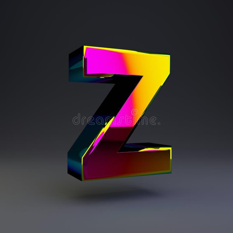 全息照相的3d信件Z大写 与多色反射的光滑的在黑背景隔绝的字体和阴影 库存例证