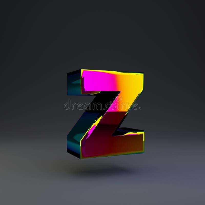 全息照相的3d信件Z小写 与多色反射的光滑的在黑背景隔绝的字体和阴影 库存例证