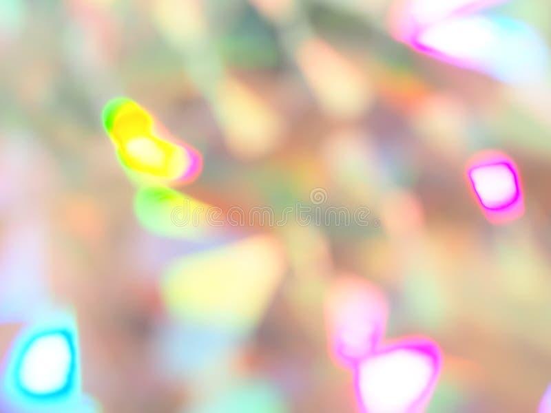 全息照相的bokeh桃红色和黄灯欢乐背景 免版税库存照片